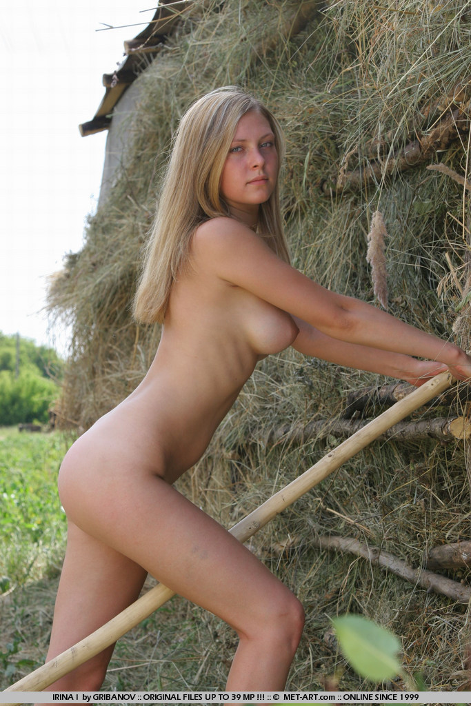 Nude blondes on a farm — photo 7