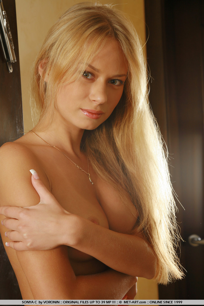 Perky breasts and nipples make this pretty blonde really pop for the camera.