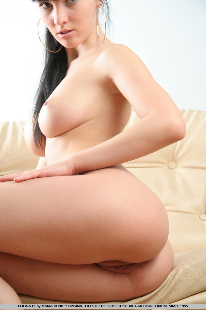 Pointy nipples and long black hair on Polina has she goes inside and shoots this one on the sofa.
