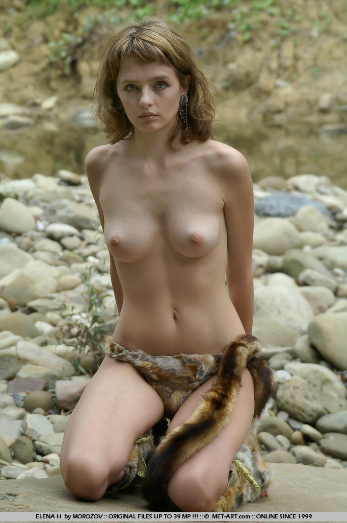 Elena goes outdoors and shows her cavewoman side.