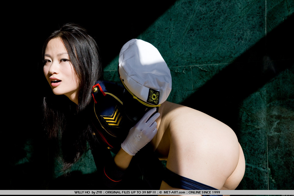 Hot Asian sailor girl with small dark bush and an ass for bending and doing other things.