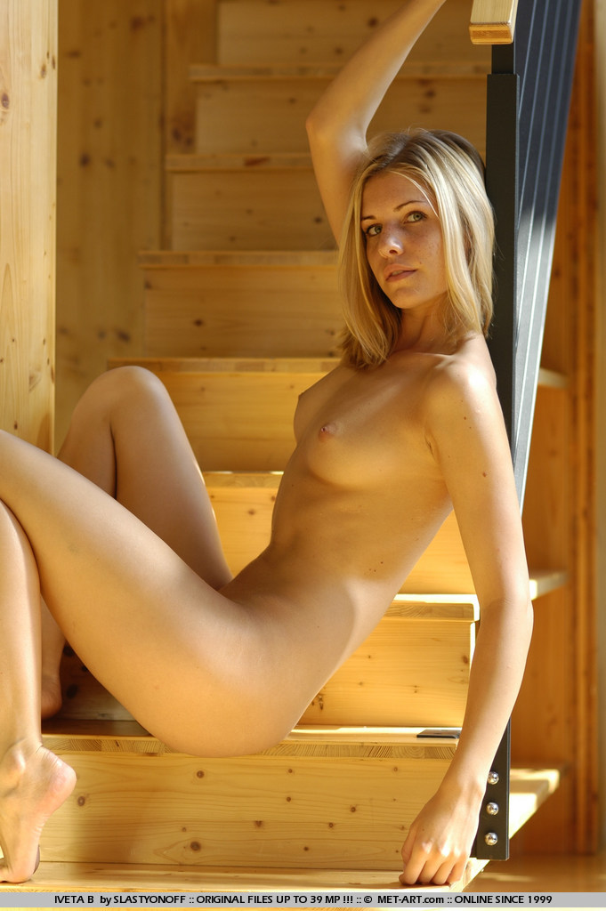 Strong model Iveta seems timid and shy as she displays her secrets.