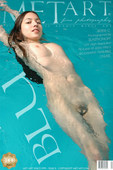 Long dark hair flows through water like a breeze as this pretty naked model swims.