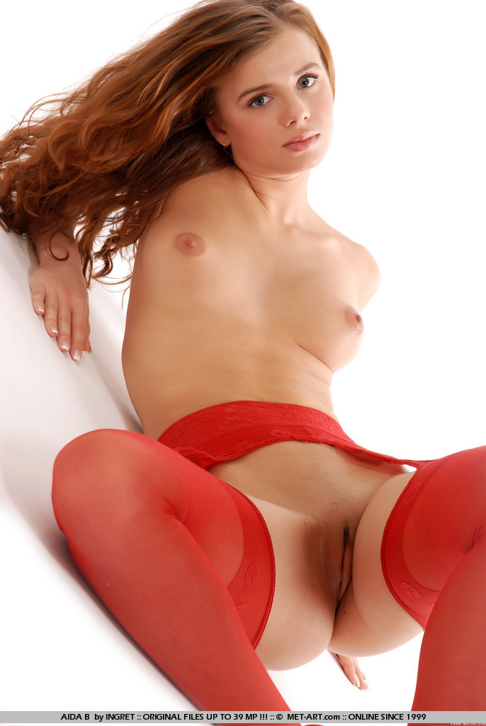 Teen cute sexy busty redhead babe kristina with beautiful eyes from met art wearing red stockings