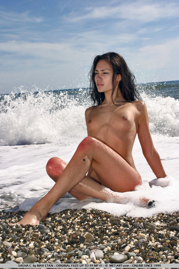 Classic set of this dark haired wonder with a rock hard body on the beach with waves crashing behind.