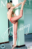 Flexible dancer in red fishnet stockings shows her talent and everything you want to see too.